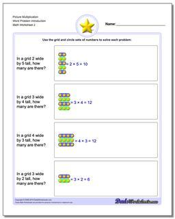 Picture Multiplication Worksheet Word Problem Introduction www.dadsworksheets.com/worksheets/picture-math-multiplication.html