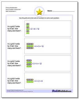 Picture Multiplication Worksheet Word Problem Introduction