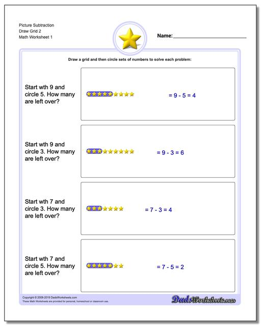 Picture Math Subtraction Worksheets Draw Grid 2