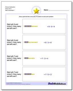 Picture Math Subtraction Worksheet Draw Grid 2