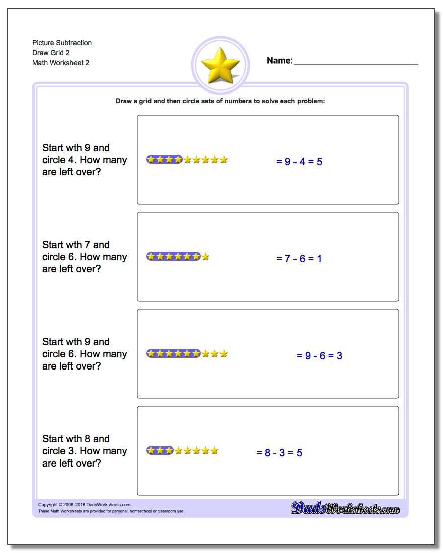 Picture Subtraction Worksheet Draw Grid 2 www.dadsworksheets.com/worksheets/picture-math-subtraction.html