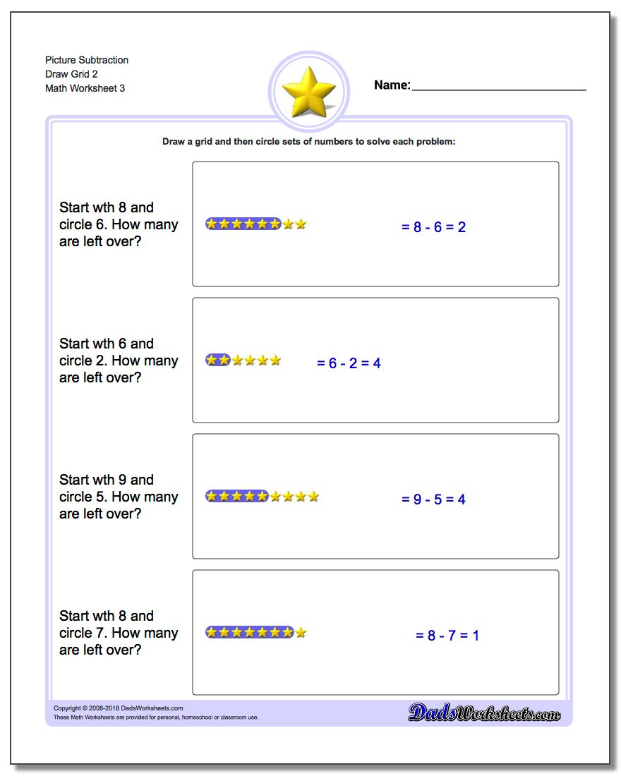 Picture Subtraction Worksheet Draw Grid 2