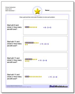 Picture Math Subtraction Worksheet Draw Grid 3
