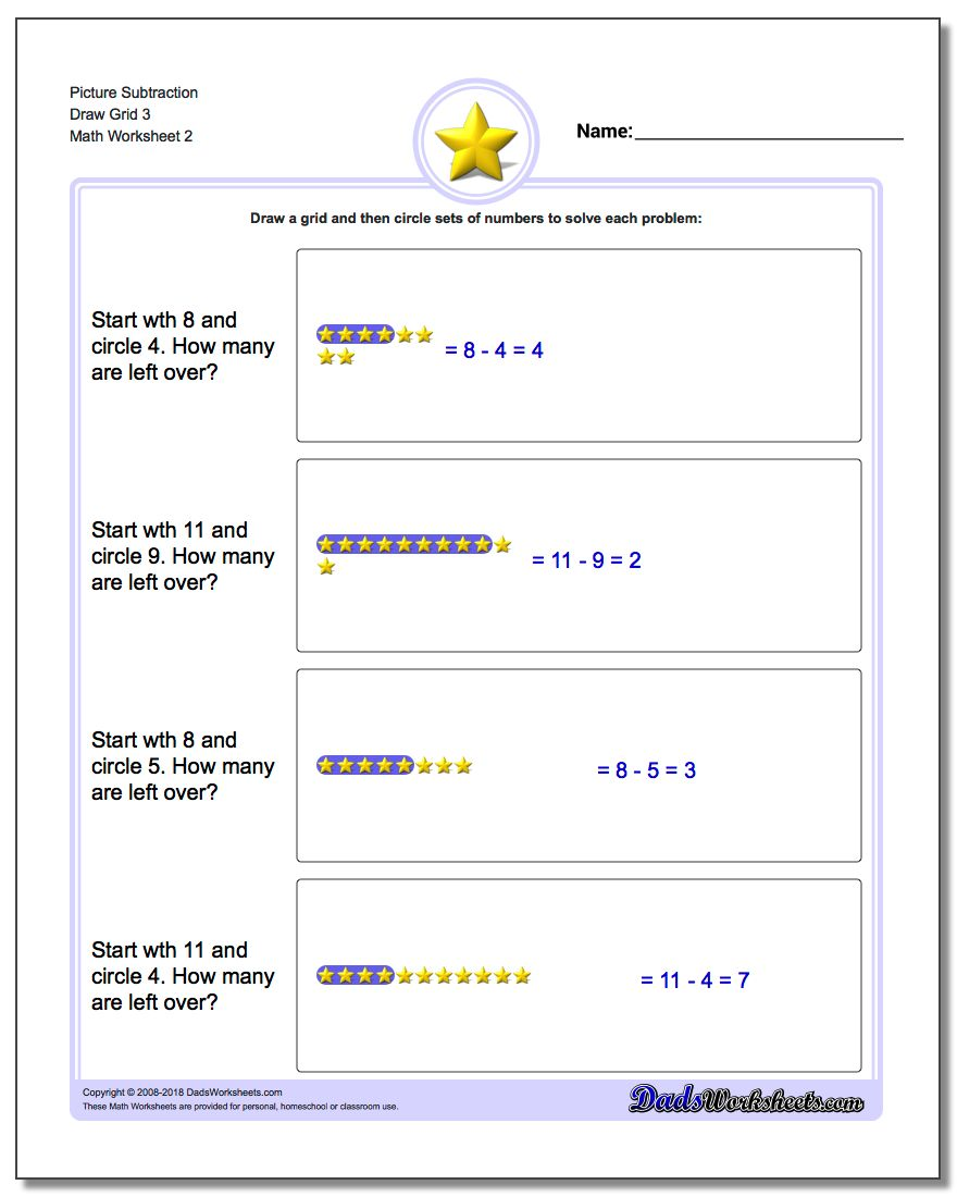 Picture Subtraction Worksheet Draw Grid 3 www.dadsworksheets.com/worksheets/picture-math-subtraction.html