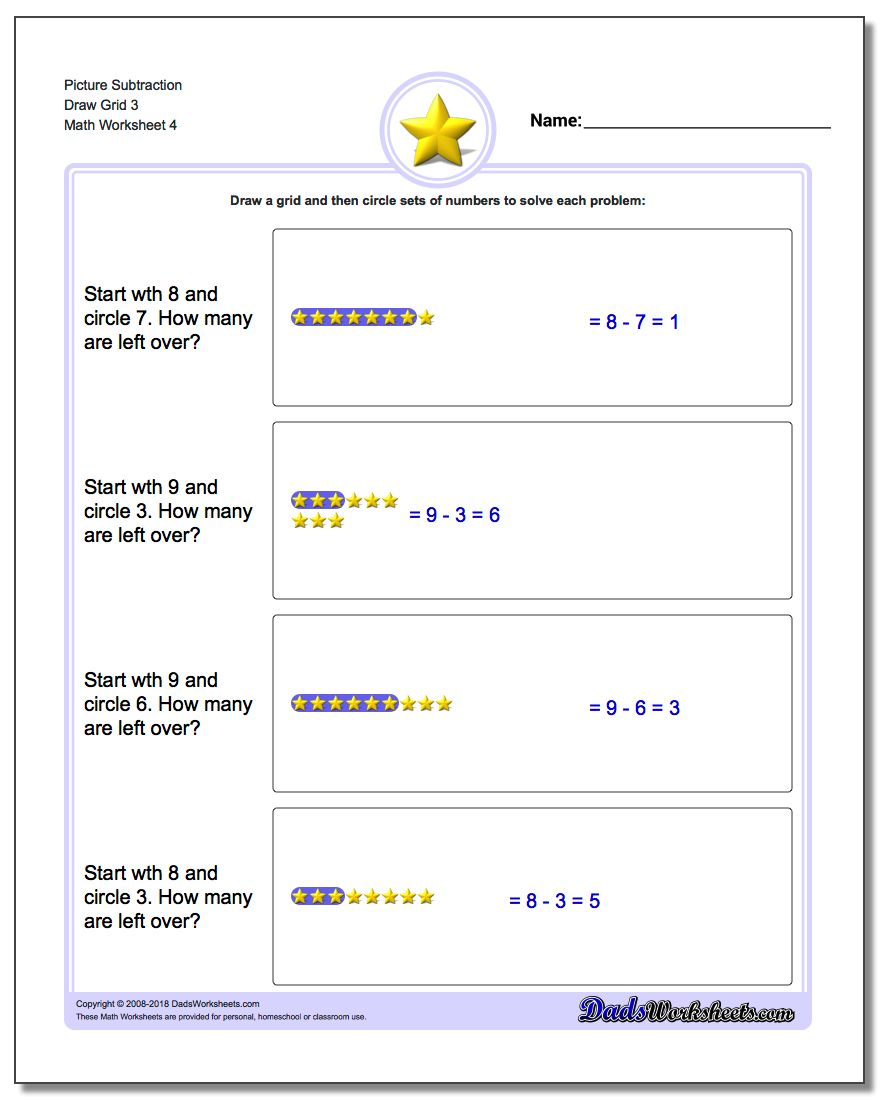 Picture Subtraction Worksheet Draw Grid 3