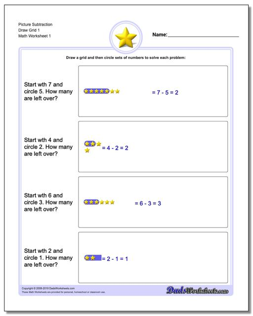 Picture Math Subtraction Worksheets Draw Grid 1
