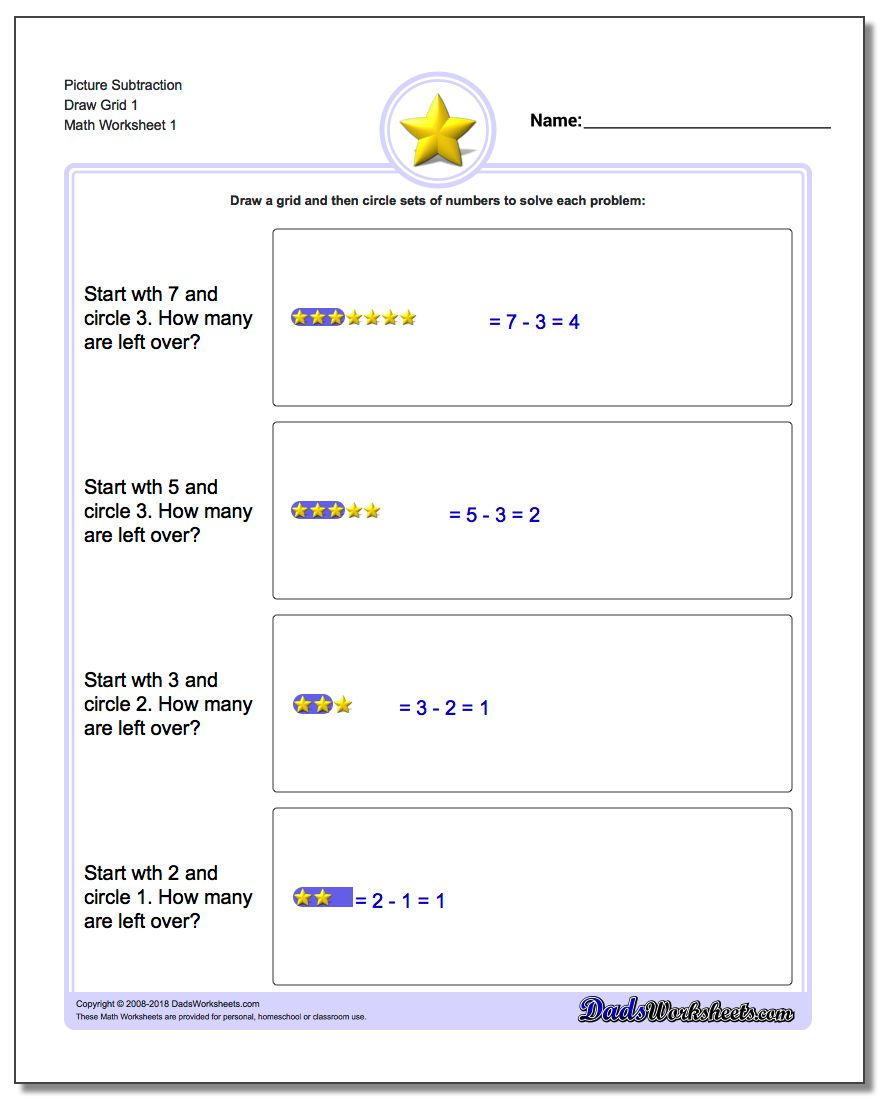 Picture Math Subtraction Worksheet Draw Grid