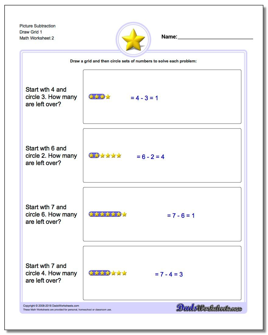 Picture Subtraction Worksheet Draw Grid 1 www.dadsworksheets.com/worksheets/picture-math-subtraction.html