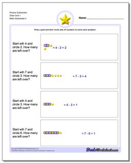 Picture Subtraction Worksheet Draw Grid 1