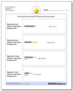 Picture Math Subtraction Worksheet 1