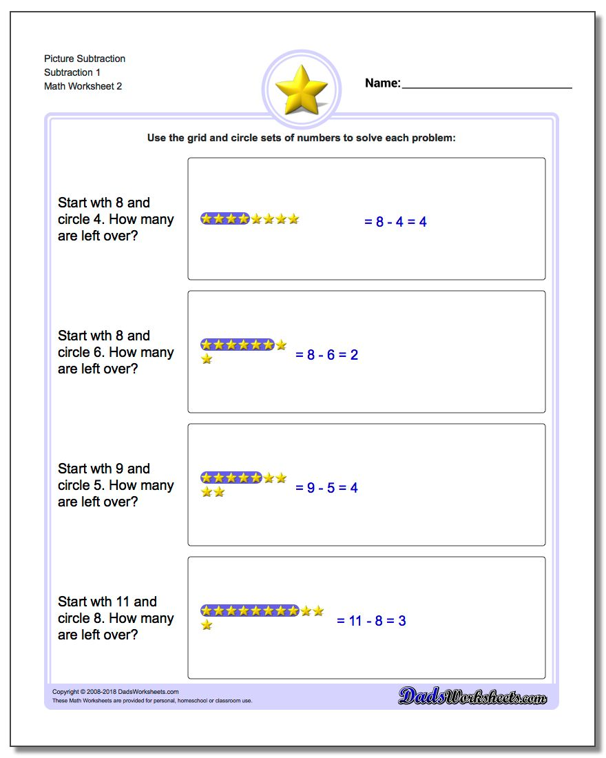 Picture Subtraction Worksheet Subtraction 1 www.dadsworksheets.com/worksheets/picture-math-subtraction.html