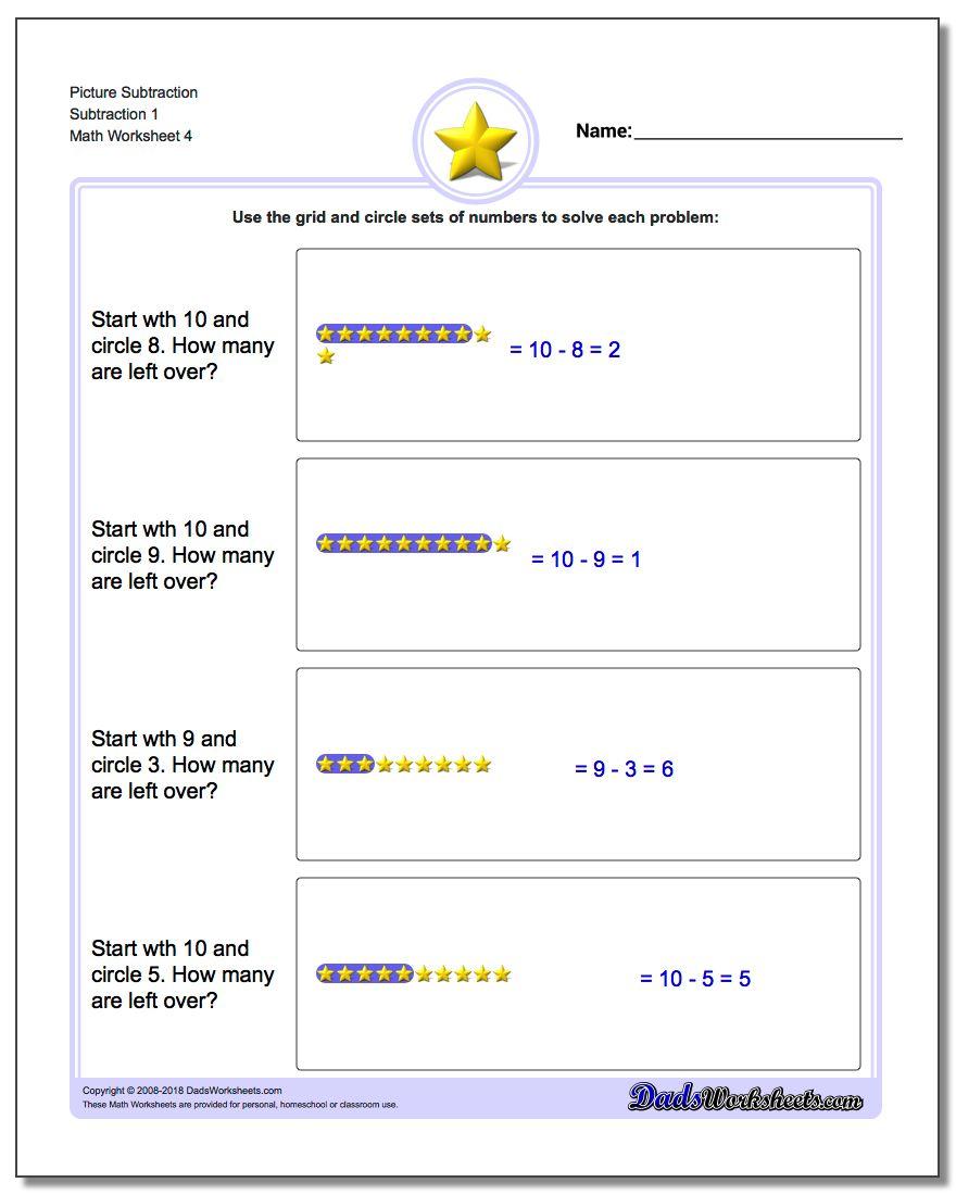Picture Subtraction Worksheet Subtraction 1