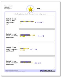 Picture Math Subtraction Worksheet 2