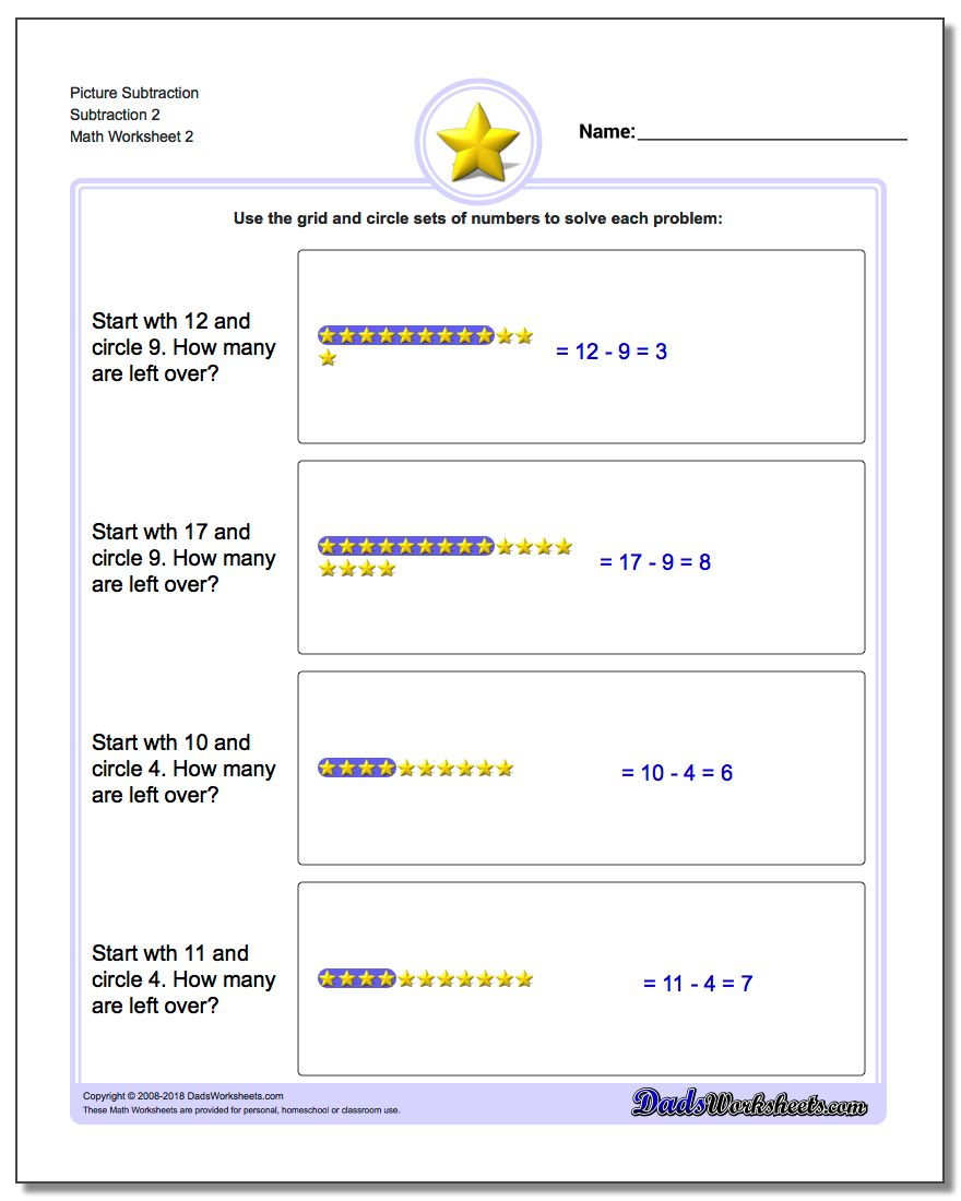 Picture Subtraction Worksheet Subtraction 2 www.dadsworksheets.com/worksheets/picture-math-subtraction.html