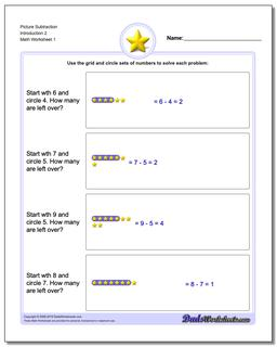 Picture Math Subtraction Worksheet Introduction 2