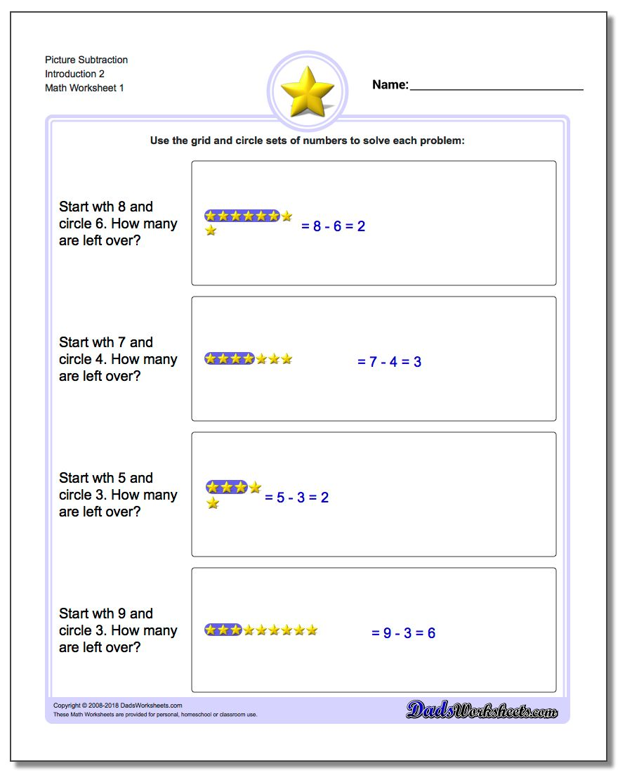 Picture Math Subtraction Worksheets Introduction 2