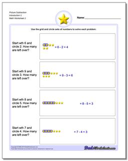 Picture Subtraction Worksheet Introduction 2 www.dadsworksheets.com/worksheets/picture-math-subtraction.html