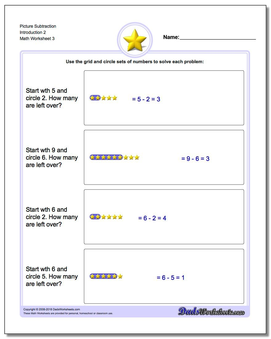 Picture Subtraction Worksheet Introduction 2
