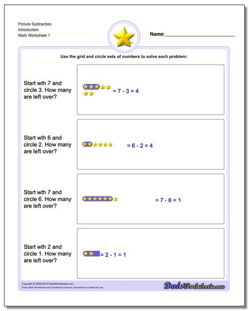 Picture Math Subtraction Worksheets