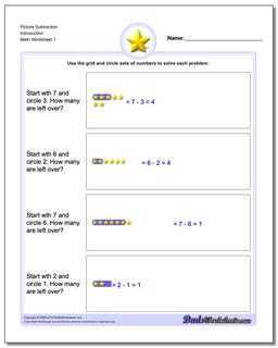 Picture Math Subtraction Worksheet