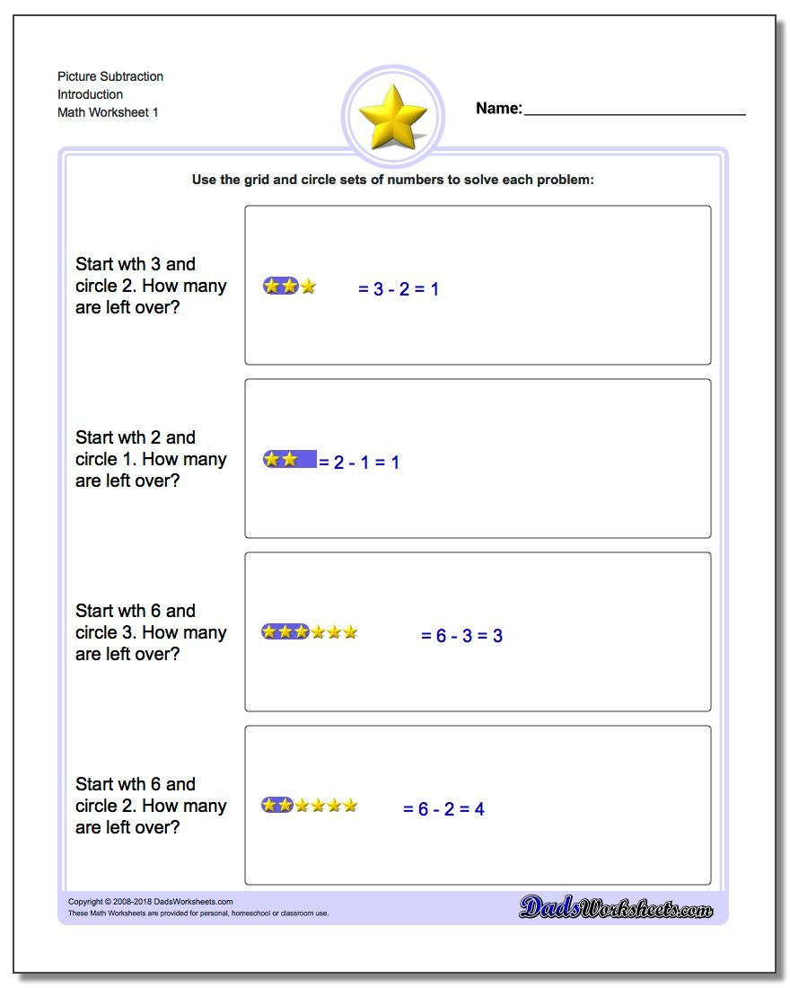Picture Math Subtraction – Free Subtraction Worksheet