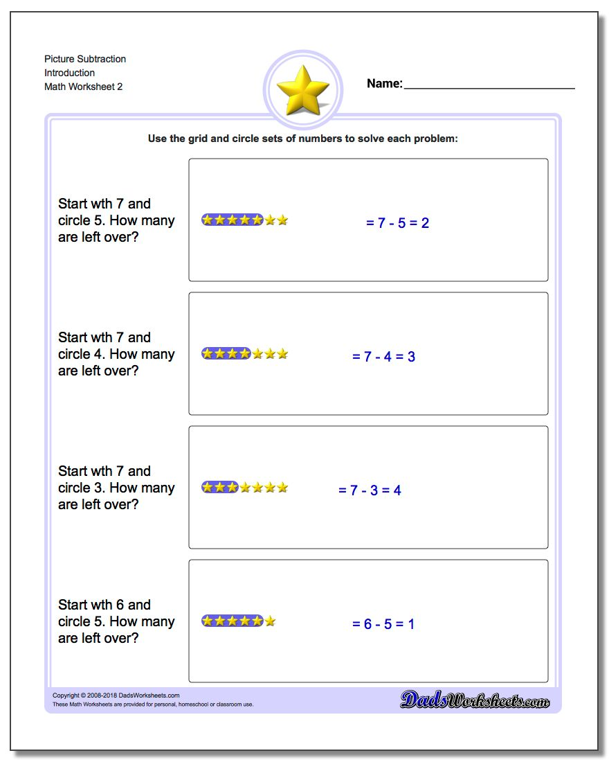 Picture Subtraction Worksheet Introduction www.dadsworksheets.com/worksheets/picture-math-subtraction.html