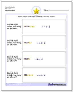 Picture Subtraction Worksheet Introduction