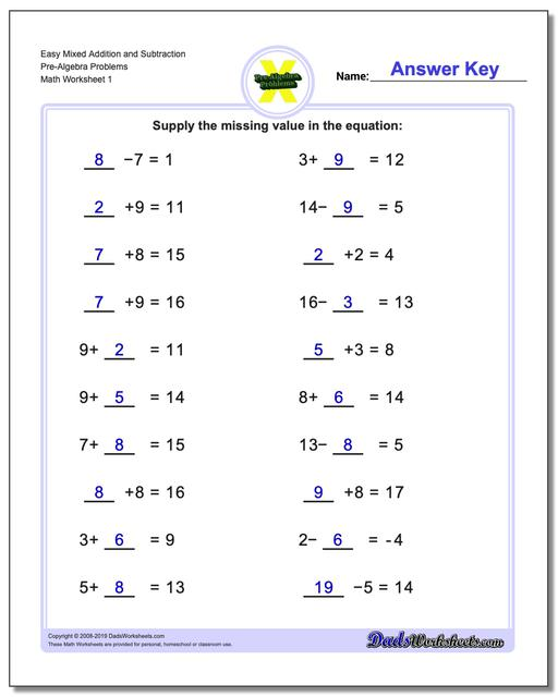 Mixed Addition Worksheets and Subtraction Worksheets Problems Worksheets Pre-Algebra