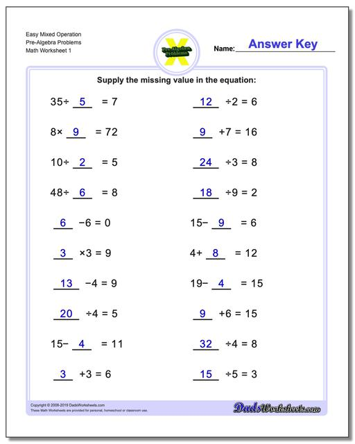 Pre-Algebra Worksheets Easy Mixed Operation Problems