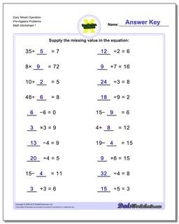 Pre-Algebra Worksheet Easy Mixed Operation Problems