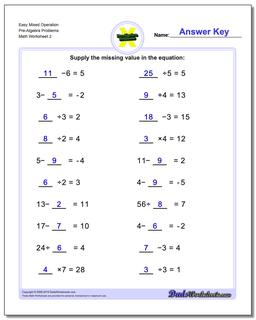 Easy Mixed Operation Pre-Algebra Problems Worksheet www.dadsworksheets.com/worksheets/pre-algebra.html