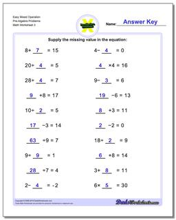 Easy Mixed Operation Pre-Algebra Problems Worksheet