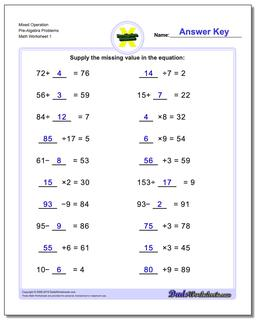 Pre-Algebra Worksheet Mixed Operation Problems