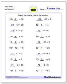 Mixed Operation Pre-Algebra Problems Worksheet www.dadsworksheets.com/worksheets/pre-algebra.html