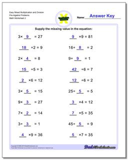 Multiplication and Division Pre-Algebra Worksheets