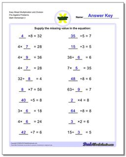 Easy Mixed Multiplication Worksheet and Division Worksheet Pre-Algebra Problems Worksheet