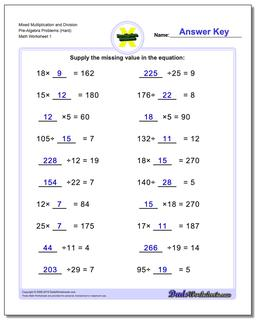 Pre-Algebra Worksheet Mixed Multiplication and Division Problems (Hard)