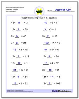 Pre-Algebra Worksheet Mixed Multiplication and Division Problems