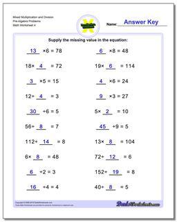 Mixed Multiplication Worksheet and Division Worksheet Pre-Algebra Problems Worksheet
