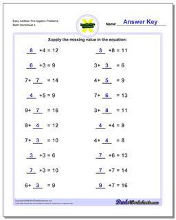 Easy Addition Worksheet Pre-Algebra Problems Worksheet