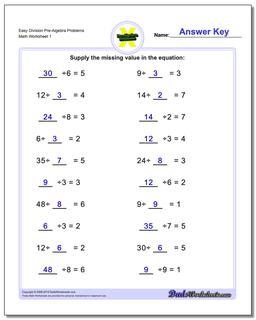 Pre-Algebra Worksheet Easy Division Problems