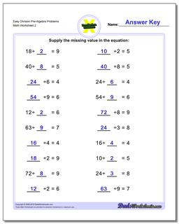 Easy Division Worksheet Pre-Algebra Problems Worksheet #PreAlgebra #Worksheet