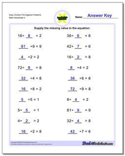 Easy Division Worksheet Pre-Algebra Problems Worksheet