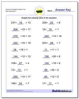 Division Worksheet Pre-Algebra Problems Worksheet Two #PreAlgebra #Worksheet