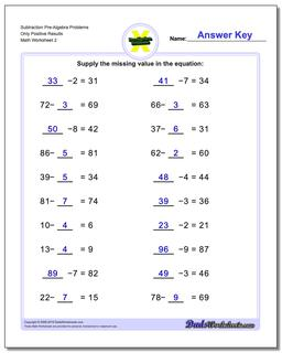 Subtraction Worksheet Pre-Algebra Problems Worksheet Only Positive Results www.dadsworksheets.com/worksheets/pre-algebra.html