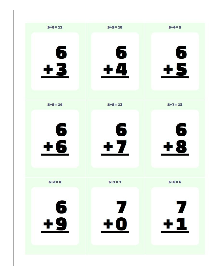 Addition Worksheet Flashcards 1