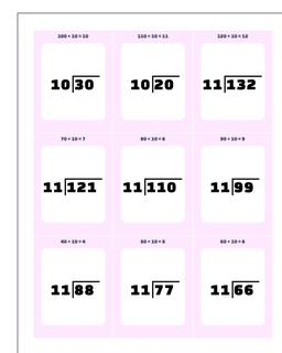 Division by 10, by 11, by 12 Printable Flash Cards