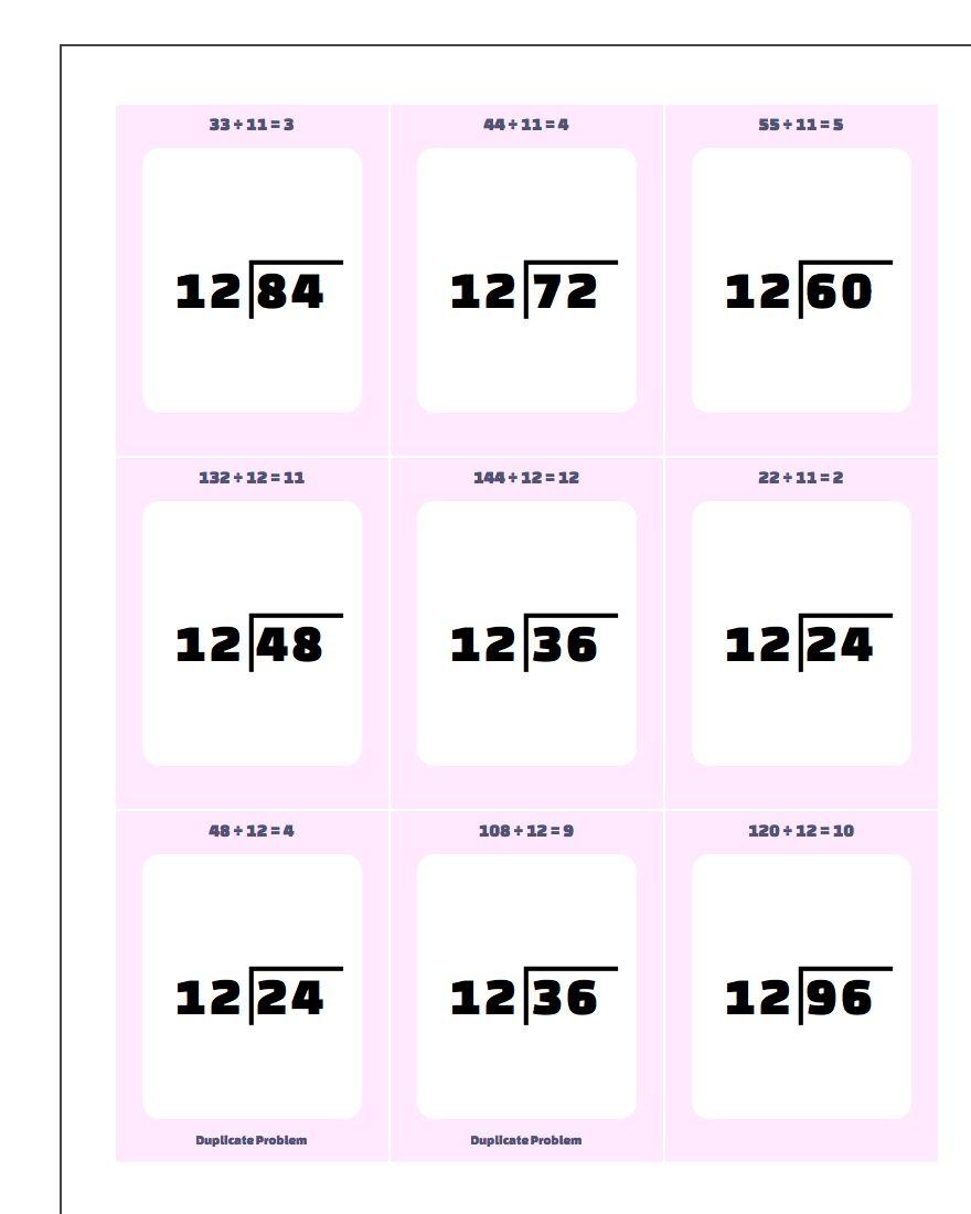 Division Worksheet by 10, 11, 12 Facts www.dadsworksheets.com/worksheets/printable-flash-cards.html