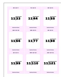 Division Worksheet by 10, 11, 12 Facts