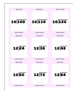 Division Worksheet by 10, 11, 12 Facts #Printable #Flash #Cards